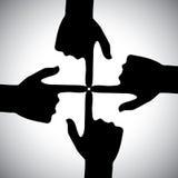Vector el icono de cuatro manos que se señalan - concepto de unidad Imagen de archivo