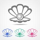 Vector el icono de la cáscara con una perla en diversos colores fotografía de archivo