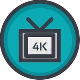 Vector el icono de la calidad de vídeo 4k en el botón en estilo plano con el esquema Pixel perfecto Icono del jugador y de las mu Fotografía de archivo libre de regalías