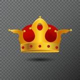 Vector el icono de la corona de oro con las piedras rojas en fondo Diadema de los derechos del volumen creada por pendiente Imagen de archivo libre de regalías