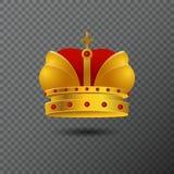 Vector el icono de la corona de oro con las piedras y la cruz rojas Diadema de la pendiente del volumen en fondo Imagen de archivo libre de regalías