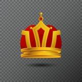 Vector el icono de oro de la corona de la monarquía aislado en fondo Imagenes de archivo