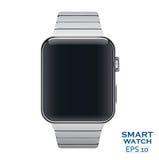 Vector el icono del ejemplo del reloj elegante de acero del metal de aluminio Imagenes de archivo