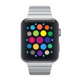 Vector el icono del ejemplo del reloj elegante de acero del metal de aluminio con el interfaz simple Vector Imagen de archivo