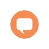Vector el icono minimalistic del mensaje con una burbuja del discurso Aislado en blanco Foto de archivo