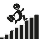 Vector el icono plano con un hombre que sube para arriba la escalera, el crecimiento del gráfico y el desarrollo corporativos Dis libre illustration