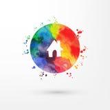 Vector el icono sucio de la acuarela del arco iris dentro del círculo con las manchas y las manchas blancas /negras de la pintura libre illustration