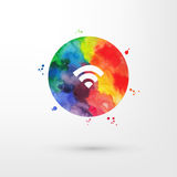 Vector el icono sucio del wifi de la acuarela del arco iris dentro del círculo con las manchas y las manchas blancas /negras de l ilustración del vector