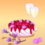 Vector el illustartion de la torta, de dos vidrios y de la magnolia, palabras para usted Imágenes de archivo libres de regalías