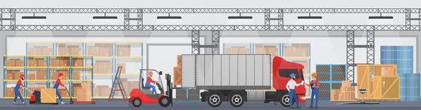 Vector el interior de Warehouse con los trabajadores que arreglan mercancías en los estantes y sumerja las cajas en un camión War