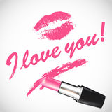 Vector el lápiz labial rosado con el espacio para su texto Fotos de archivo libres de regalías