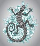 Vector el lagarto o la salamandra dibujado mano con golpeteo tribal étnico stock de ilustración