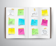 Vector el libro con las cartas del dibujo y representa negocio gráficamente ilustración del vector