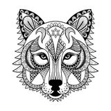 Vector el lobo ornamental, mascota zentangled étnica, amuleto, máscara libre illustration