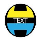 Vector el logotipo abstracto de dos figuras geométricas de color amarillo y azul dispuesto encima de uno a contra la perspectiva  Imagen de archivo