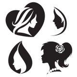 Vector el logotipo abstracto de la plantilla para los salones y las tiendas de la mujer stock de ilustración