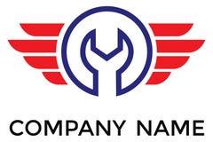 Vector el logotipo de la llave ajustable en círculo con las líneas rojas stock de ilustración