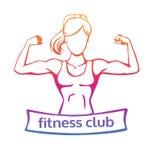 Vector el logotipo del club de fitness en pendiente amarilla, rosada y violeta y silueta femenina Imagenes de archivo