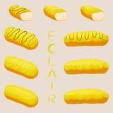 Vector el logotipo del ejemplo del icono para el eclair del francés de la torta Foto de archivo libre de regalías