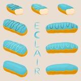 Vector el logotipo del ejemplo del icono para el eclair del francés de la torta Fotos de archivo libres de regalías