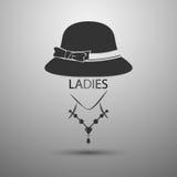 Vector el logotipo del vintage del sombrero de las señoras del fondo y las señoras mandan un SMS ilustración del vector