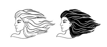 Vector el logotipo en la muchacha blanca del fondo con el vuelo del pelo en el triunfo stock de ilustración