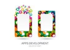 Vector el móvil o haga tabletas el icono de la PC construido de los dientes coloridos del engranaje A Imagenes de archivo
