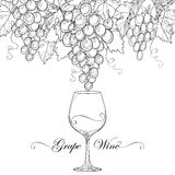 Vector el manojo de uva, de hojas de la uva y de copa stock de ilustración