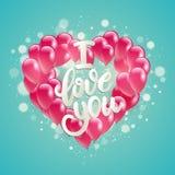 Vector el manojo que vuela del ejemplo del día de fiesta de forma rosada del corazón del globo Día de tarjetas del día de San Val Imagen de archivo libre de regalías