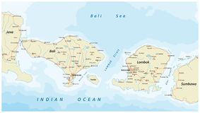 Vector el mapa de camino del indonesio Lesser Sunda Islands Bali y Lombok Fotos de archivo