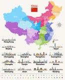 Vector el mapa de las provincias de China coloreadas por regiones con horizontes de la ciudad más grande Fotos de archivo libres de regalías