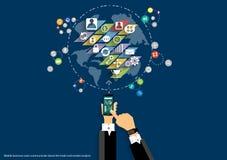 Vector el mapa del diseño plano de los iconos del negocio, del comercio, del márketing y del negocio global de las comunicaciones Foto de archivo