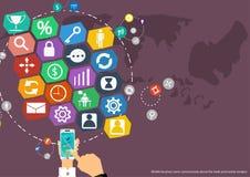 Vector el mapa del diseño plano de los iconos del negocio, del comercio, del márketing y del negocio global de las comunicaciones Fotografía de archivo