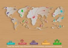 Vector el mapa del mundo del diseño plano del icono del viaje de negocios, de la comunicación, del comercio, del márketing y del  Foto de archivo libre de regalías