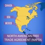 Vector el mapa del NAFTA norteamericano del acuerdo de libre comercio Foto de archivo libre de regalías