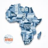 Vector el mapa detallado de África con las fronteras y los nombres de país Fotografía de archivo libre de regalías