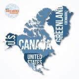 Vector el mapa detallado de Norteamérica y de Groenlandia con las fronteras y los nombres de país Imagenes de archivo