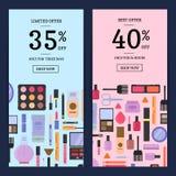 Vector el maquillaje y el skincare de las banderas de la venta en fondos planos del estilo libre illustration
