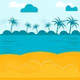 Vector el mar y la costa de la playa con la arena y las palmeras Imagen de archivo