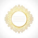 Vector el marco barroco con el ornamento exclusivo del círculo, diseño decorativo del vintage del oro Fotos de archivo
