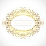 Vector el marco barroco con el ornamento oval horisontal exclusivo, diseño decorativo del oro del vintage Fotos de archivo