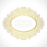 Vector el marco barroco del oro con el ornamento oval horisontal exclusivo, elementos decorativos del diseño del vintage Fotos de archivo