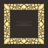 Vector el marco cuadrado de gemas y de joyas de oro realistas en fondo negro Elementos brillantes del diseño de la joyería de los stock de ilustración