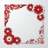 Vector el marco cuadrado del vintage con las flores de corte del papel 3d en colores rojos y blancos Imagen de archivo