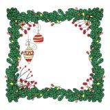 Vector el marco de la Navidad con las ramas del abeto y el estilo dibujado de las guirnaldas a disposición Stock de ilustración