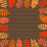 Vector el marco de las hojas de otoño en fondo de madera libre illustration