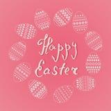 Vector el marco de los huevos adornados de pascua en forma del círculo en fondo rosado Diseño fresco y de la primavera para las t Foto de archivo libre de regalías