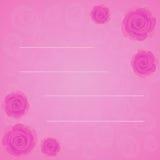 Vector el marco de rosas rosadas hermosas en fondo del rosa de la pendiente con la silueta rosada transparente de las rosas Estil Imágenes de archivo libres de regalías
