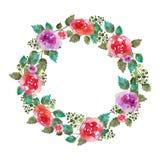 Vector el marco floral de la boda de la guirnalda del vintage con las flores y la hoja color de rosa Tarjeta de felicitación Elem Foto de archivo libre de regalías