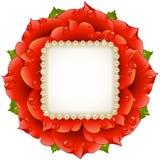 Vector el marco rojo del círculo de Rose ilustración del vector